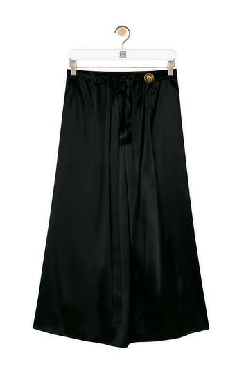 LOEWE Satin Wrap Skirt 黑色 front