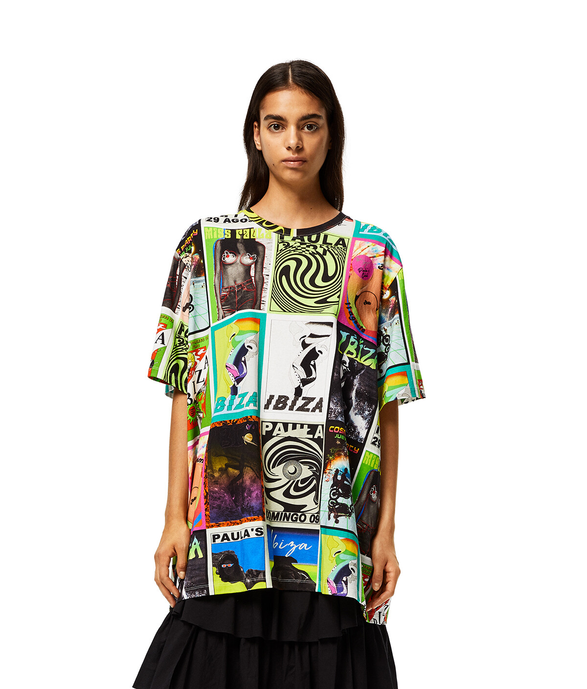 LOEWE Oversize T-Shirt In Cotton With Club Flyer Motif Multicolor front
