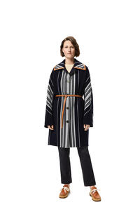 LOEWE Blanket belted coat in striped wool and cashmere Navy Blue/Grey pdp_rd