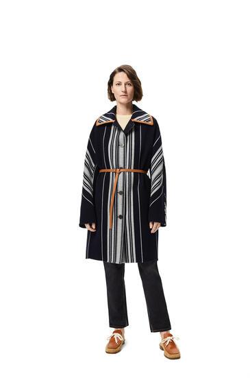 LOEWE 条纹羊毛和羊绒正面纽扣大衣 海军蓝/灰色 pdp_rd