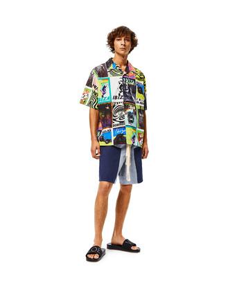 LOEWE Camisa De Algodón Con Print De Flyers Multicolor front