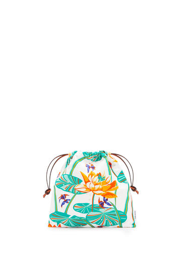 LOEWE Small Drawstring Pouch In Waterlily Canvas Aqua/White pdp_rd