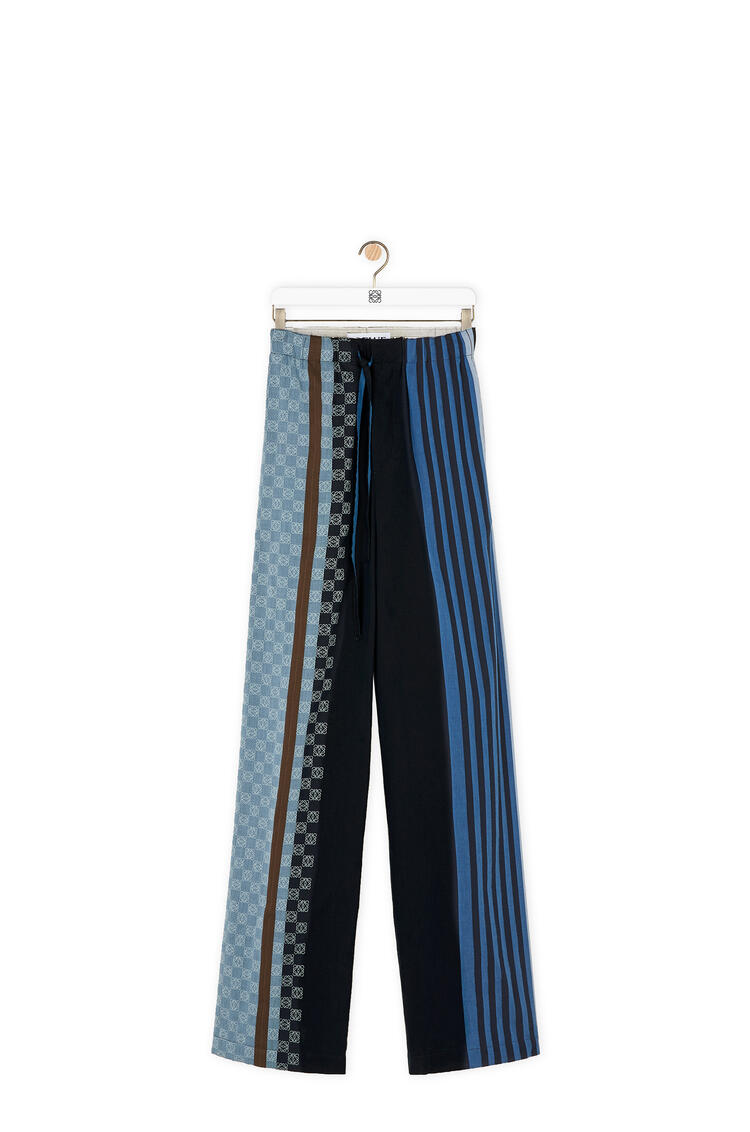 LOEWE Anagram embroidered trousers in stripe cotton Navy Blue/Multicolor pdp_rd