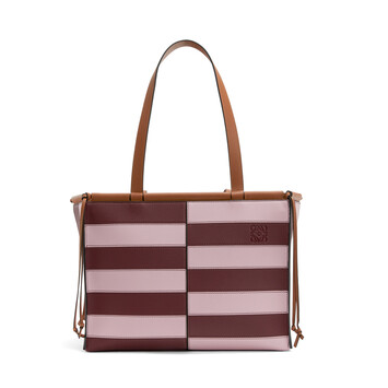 LOEWE Cushion Tote Rugby Pastel Pink/Wine front