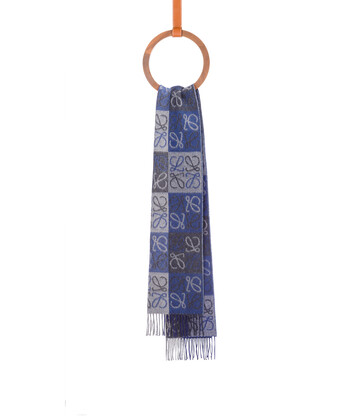 LOEWE 38X180 Scarf Anagram In Lines Azul front
