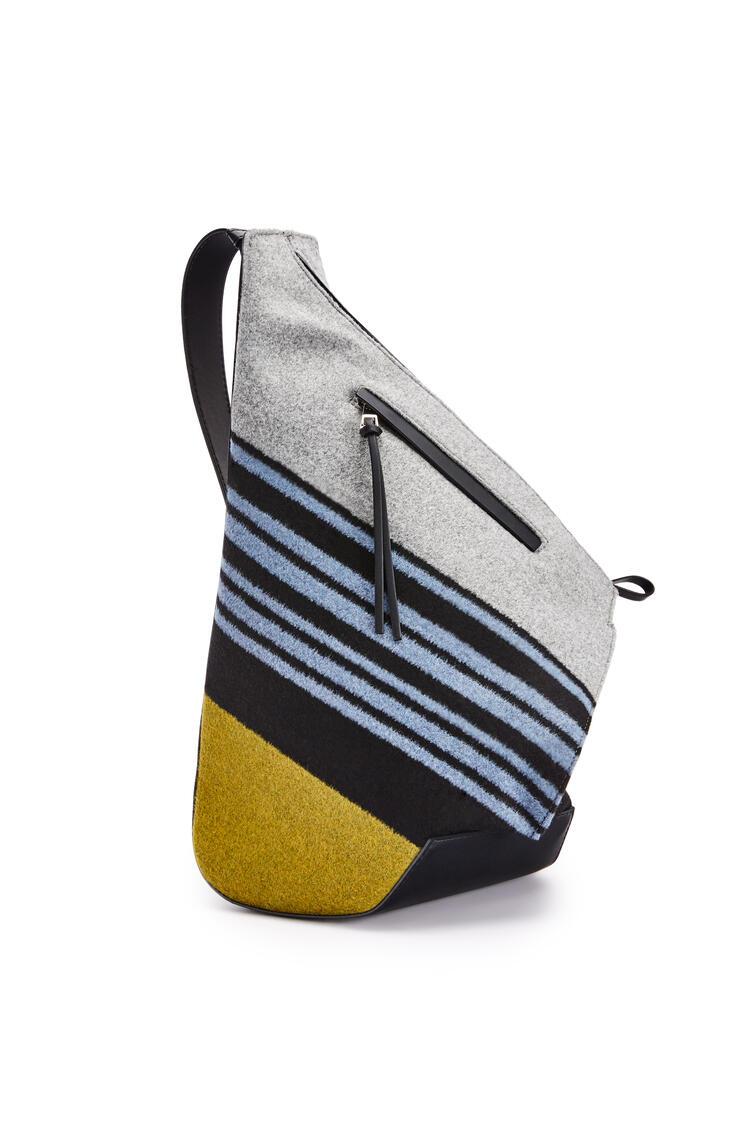 LOEWE Mochila Anton pequeña en tela con rayas y piel de ternera Azul/Negro pdp_rd
