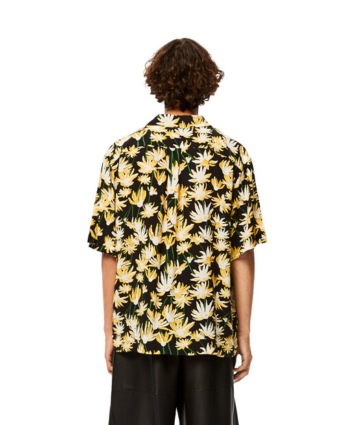 LOEWE Daisy Print Bowling Shirt Black/Yellow front