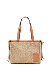 LOEWE Small Cushion Tote in felt and calfskin Camel/Tan pdp_rd