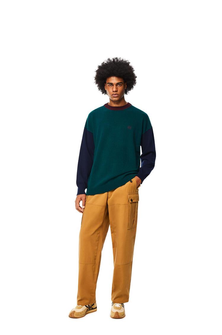 LOEWE Jersey de cuello redondo en lana colour-block Verde/Marino pdp_rd