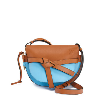 LOEWE Gate Colour Block Small Bag Tan/Sky Blue front