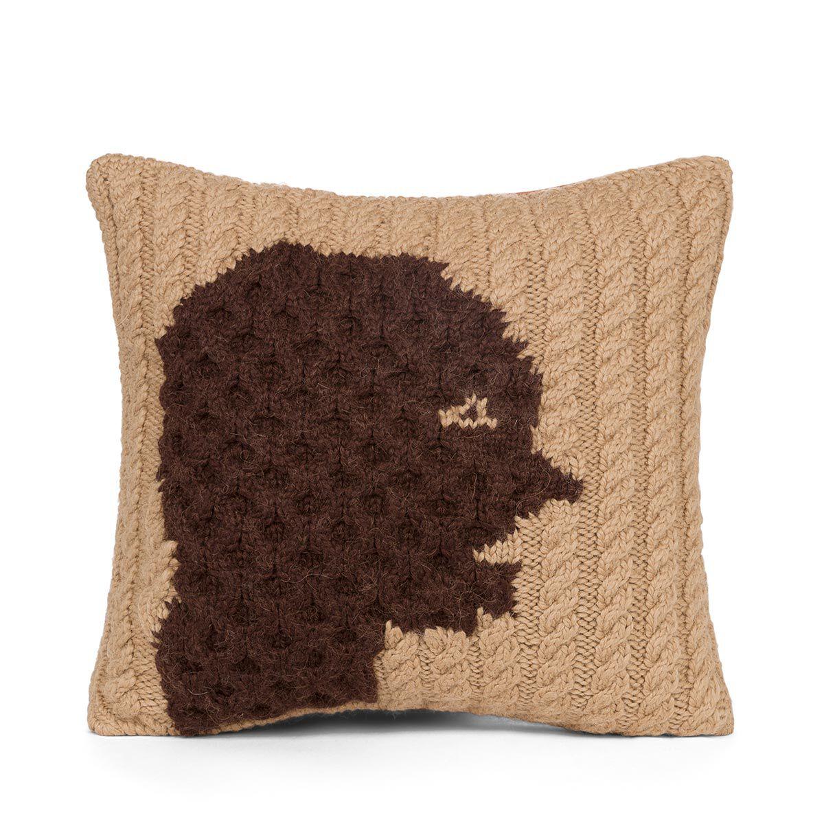 LOEWE Hand Knitted Cushion 3 40X40 驼色/深棕色 all