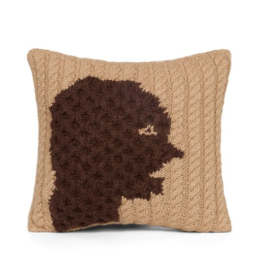 LOEWE Hand Knitted Cushion 3 40X40 Camel/Dark Brown front