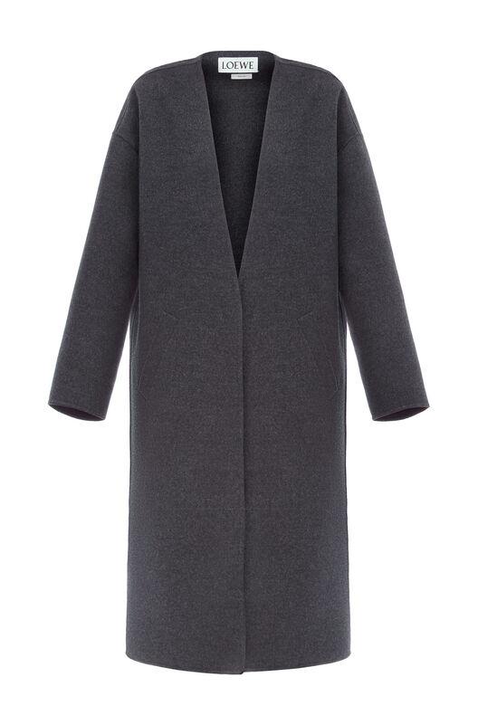 LOEWE Collarless Coat Grey Melange front