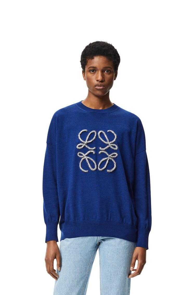 LOEWE Jersey en lana con anagrama bordado Marino/Indigo Dye pdp_rd