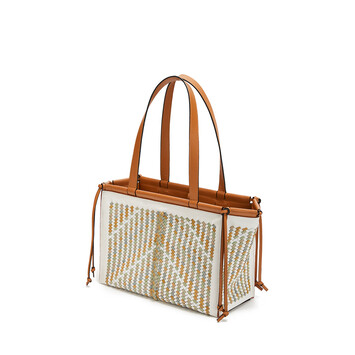 LOEWE Cushion Tote Woven Small Honey/Multicolor front