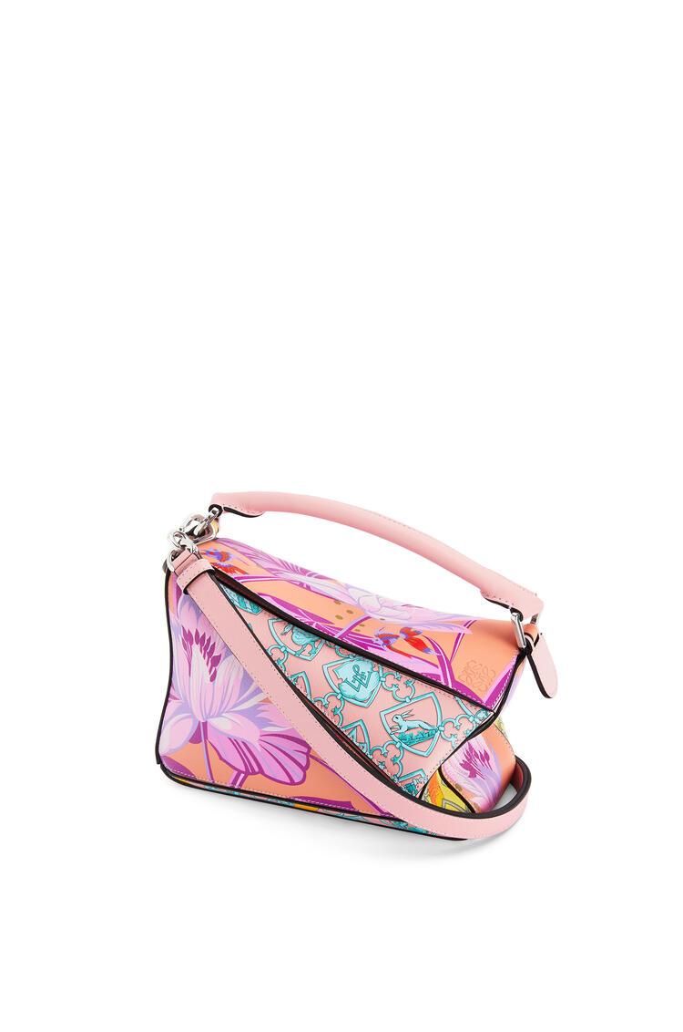 LOEWE Small Puzzle bag in printed classic calfskin Salmon/Icy Pink pdp_rd