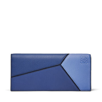 LOEWE Puzzle Long Horizontal Wallet Pacific Blue/Seaside Blue front