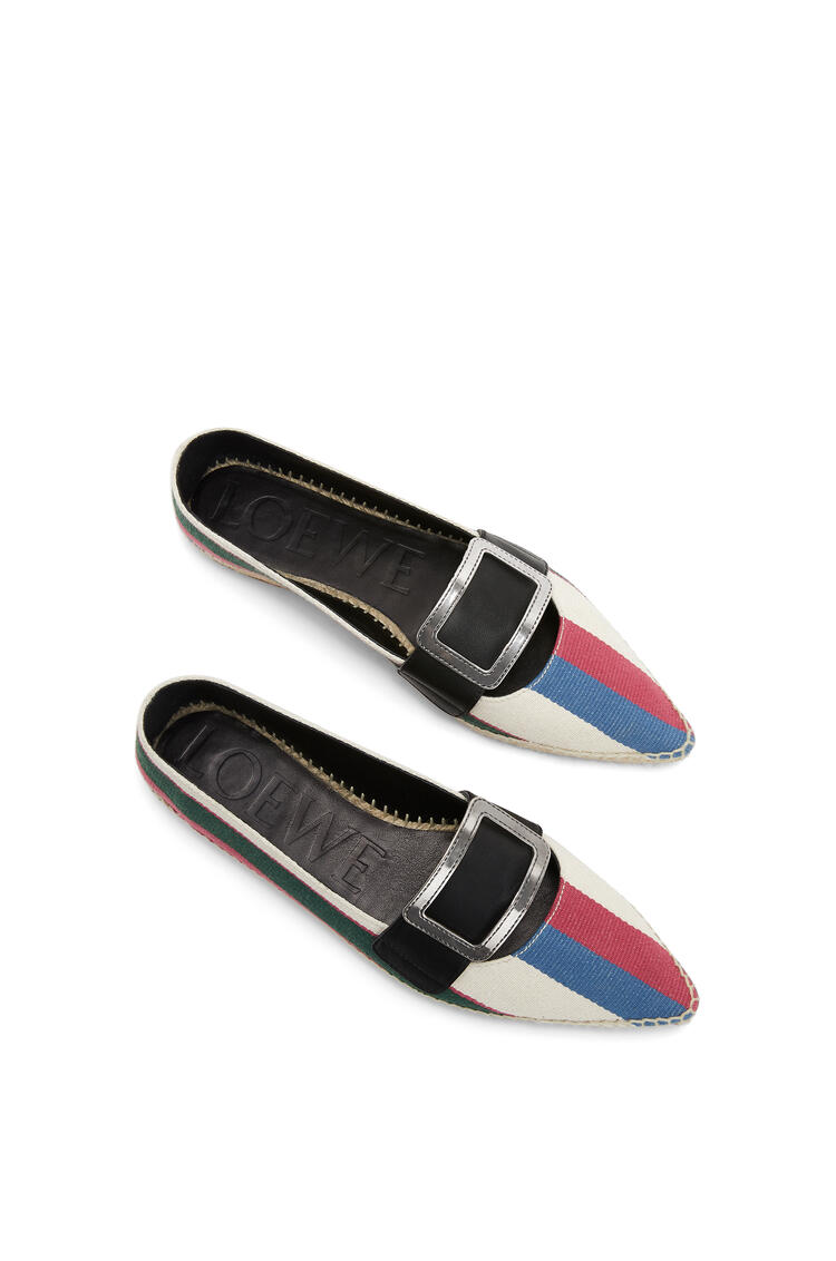 LOEWE Pointy buckle espadrille in cotton and calfskin Pink/Green/Light Blue pdp_rd