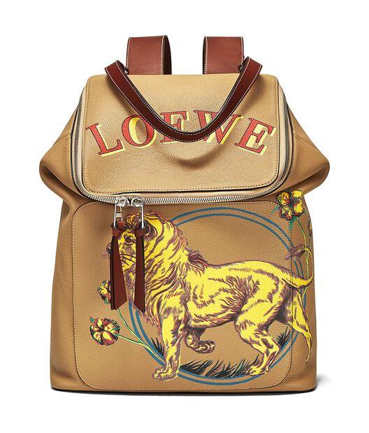 LOEWE Goya Lion Backpack Desert front