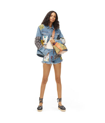 LOEWE Paula Patchwork Mini Shorts Indigo/Multicolor front