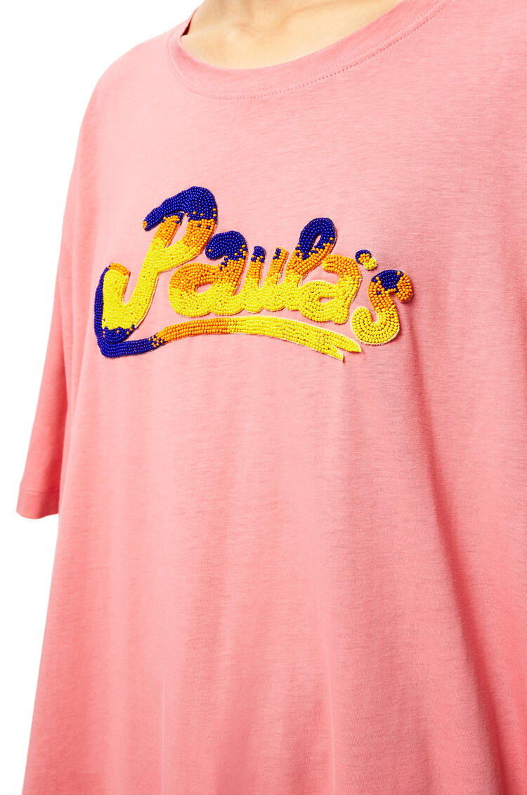 LOEWE Fringed oversize T-shirt in cotton Rose pdp_rd
