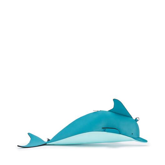 LOEWE Mini Dolphin Bag In Classic Calfskin Dark Peacock Blue/Aqua front