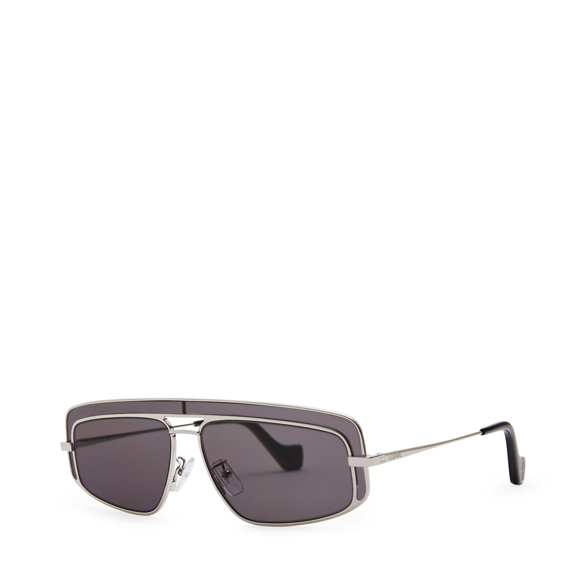 LOEWE Rectangular Sunglasses Mate Rhodium/Grey front