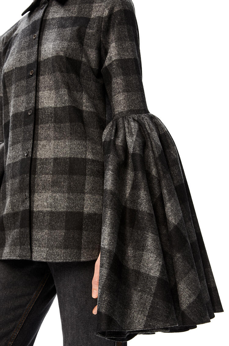 LOEWE Bell sleeve shirt in check wool Black/Grey pdp_rd