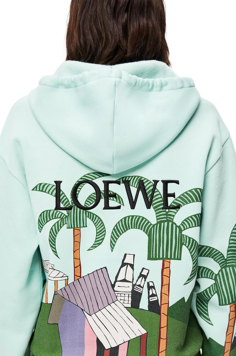 LOEWE Easter Island print hoodie in cotton Blue/Green/Tan pdp_rd