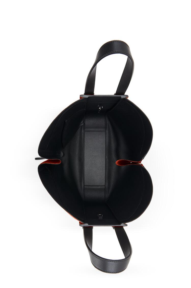 LOEWE Hammock tote bag in calfskin and suede Dark Rust/Black pdp_rd