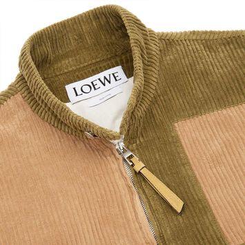 LOEWE Patchwork Corduroy Blouson Beige/Verde Kaki front