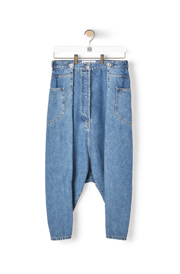 LOEWE Cropped Oversize Jeans 靛藍 front
