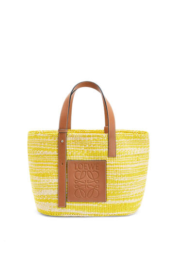 LOEWE Basket bag in sisal and calfskin Yellow/Tan pdp_rd