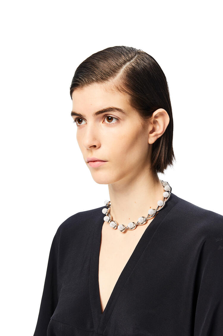 LOEWE Drop chain necklace in metal and crystals Palladium pdp_rd