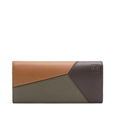 LOEWE Puzzle Long Horizontal Wallet Choc Brown/Khaki Green/Tan front