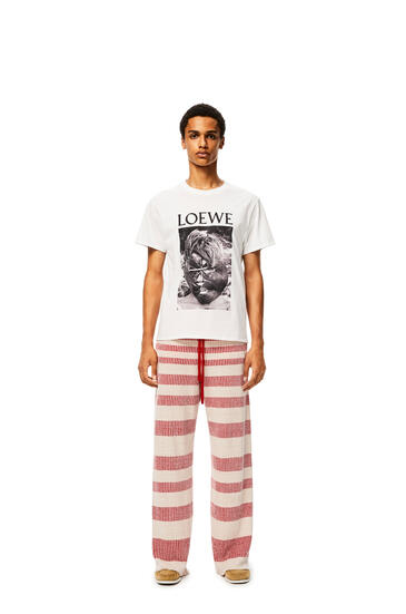 LOEWE Rib knit trousers in striped linen Beige/Red pdp_rd