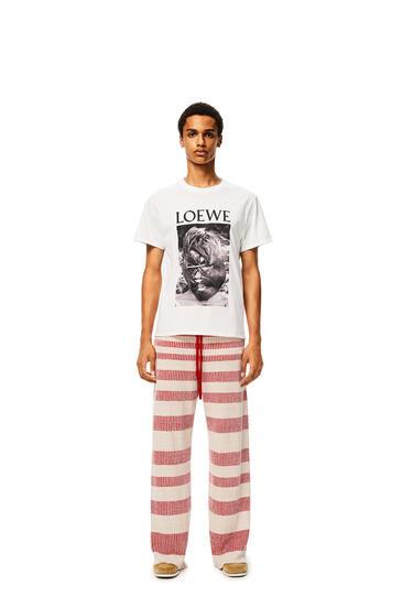 LOEWE Pantalón acanalado en lino a rayas Beige/Rojo pdp_rd