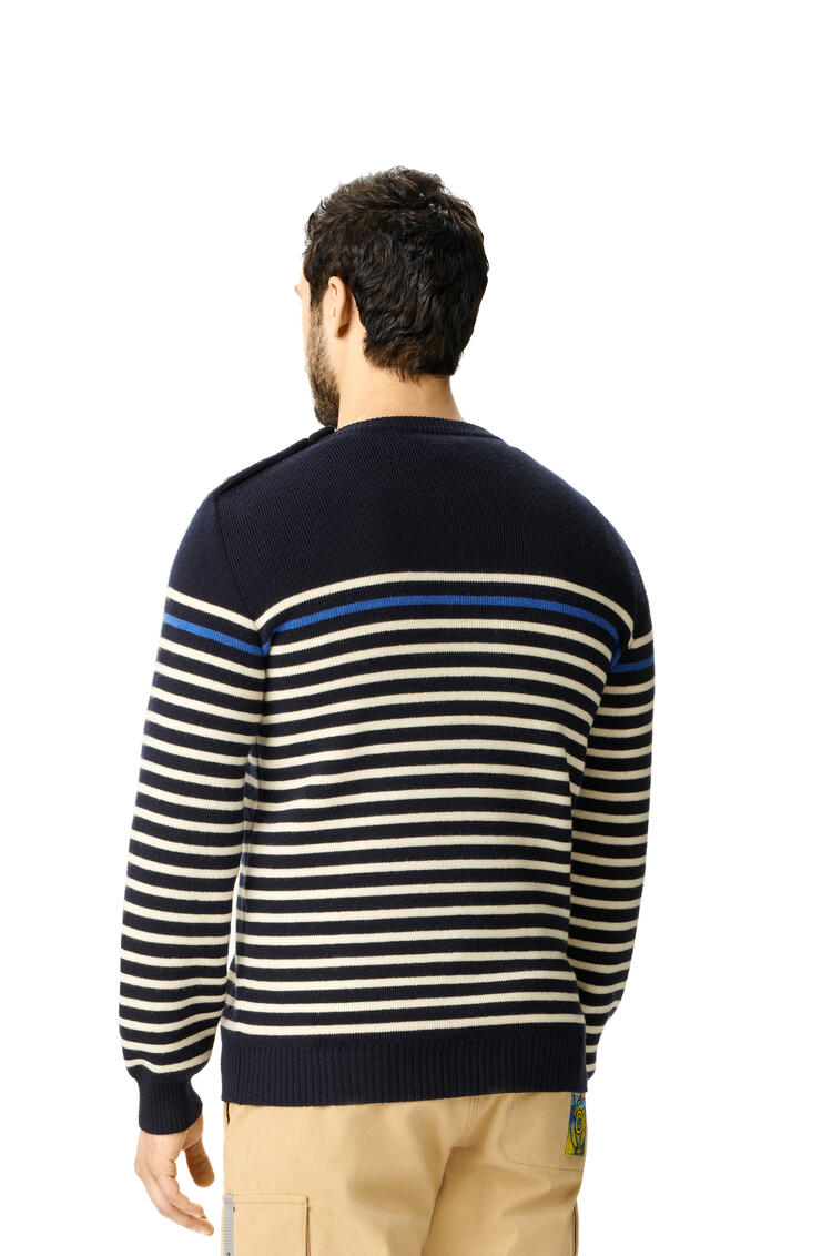 LOEWE Button Sweater In Striped Cashmere Navy/White pdp_rd