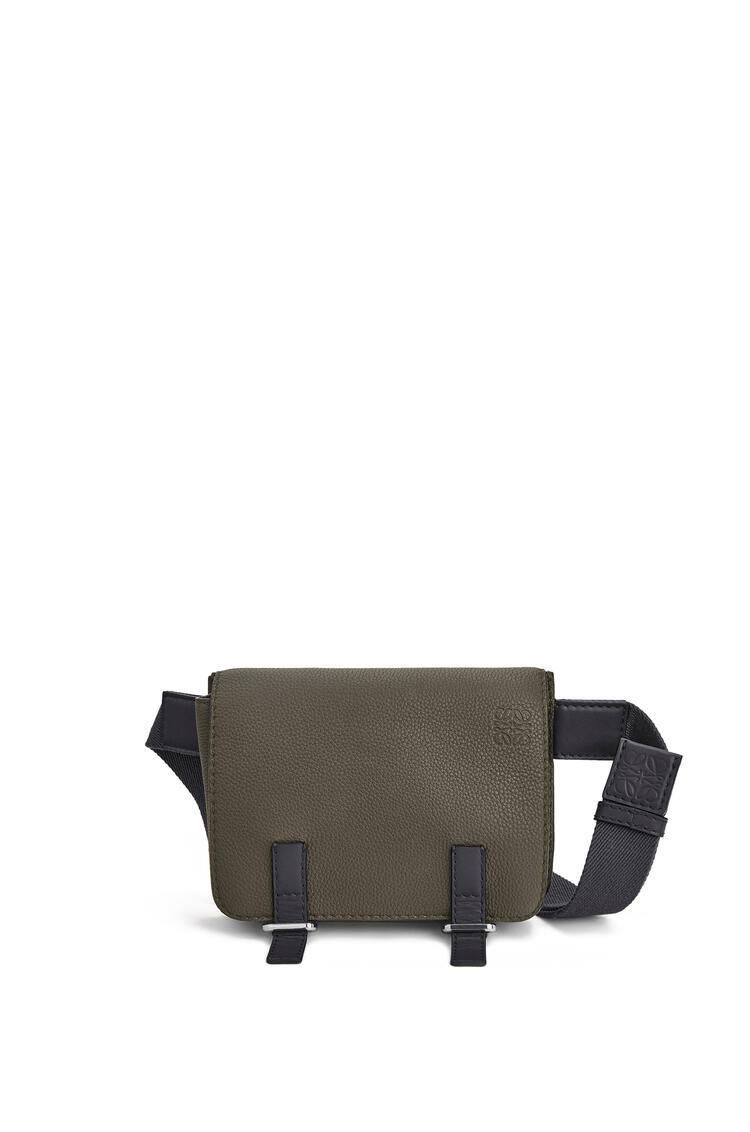 LOEWE Military bumbag in soft grained calfskin Khaki Green/Black pdp_rd