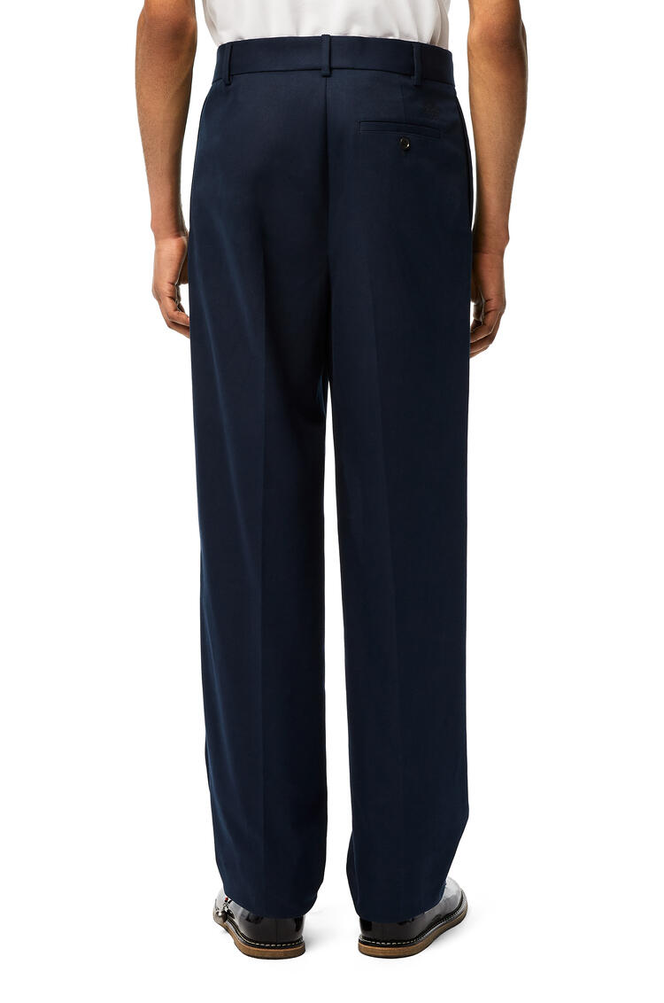 LOEWE Pleated chino trousers in cotton Navy Blue pdp_rd