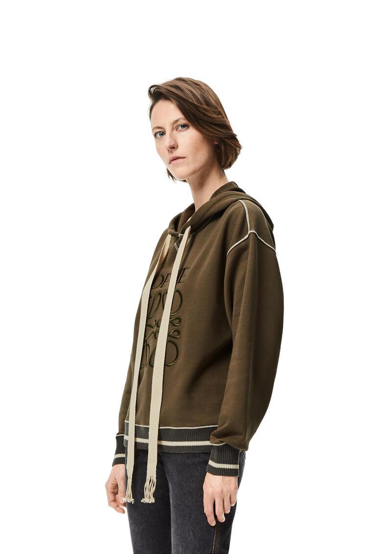 LOEWE LOEWE anagram embroidered hoodie in cotton Khaki Green pdp_rd