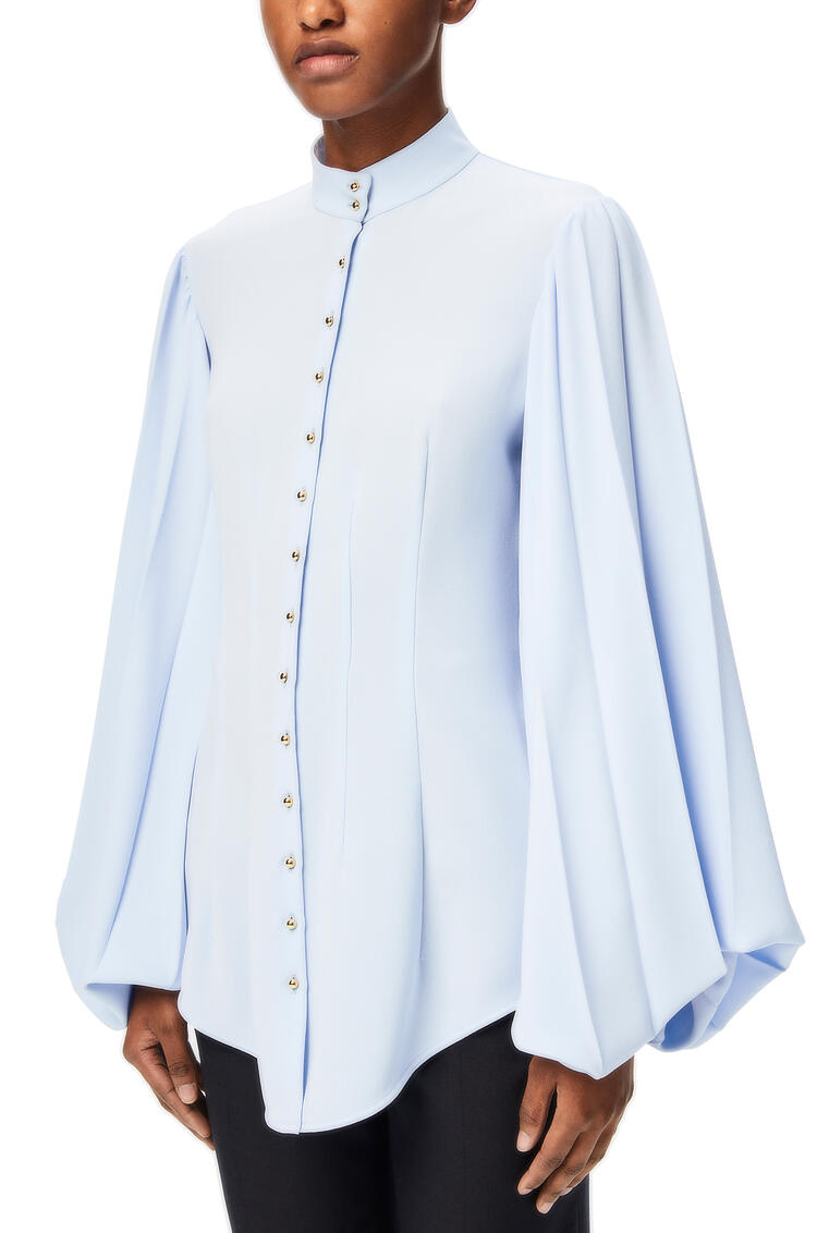LOEWE Pleated sleeve blouse in acetate and cotton Baby Blue pdp_rd