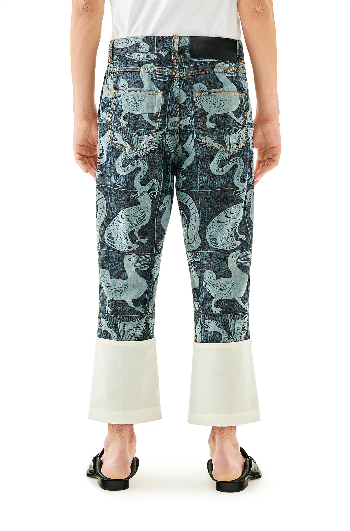 LOEWE Fisherman Pants Blanco/Azul Indigo front