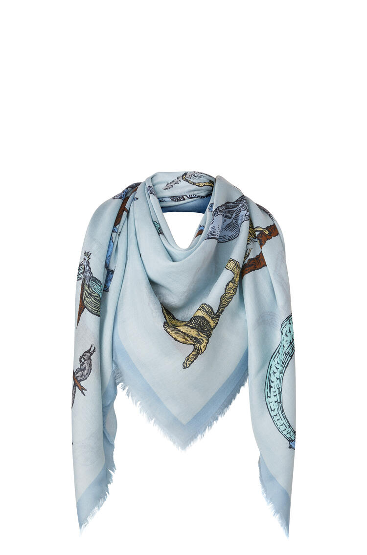 LOEWE 140 x 140 cm alphabet scarf in modal and cashmere Light Blue pdp_rd