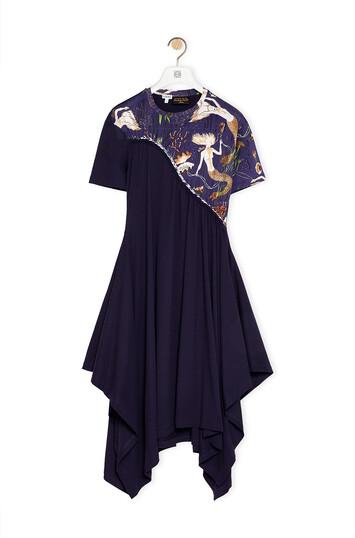 LOEWE Braided Asymmetrical Dress In Mermaid Cotton Navy Blue front