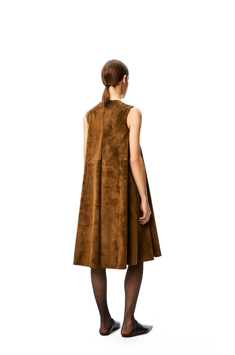LOEWE Flare midi dress in suede Khaki Green pdp_rd