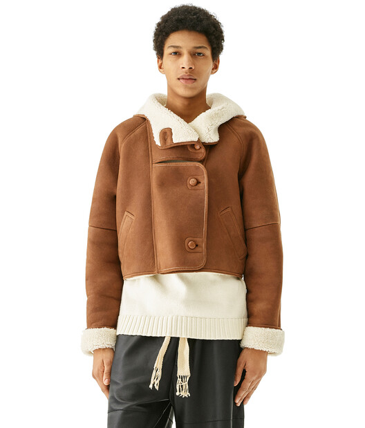 LOEWE Shearling Jacket Dark Brown front