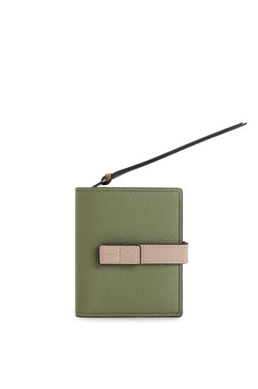 LOEWE Compact zip wallet in soft grained calfskin Avocado Green/Sand pdp_rd