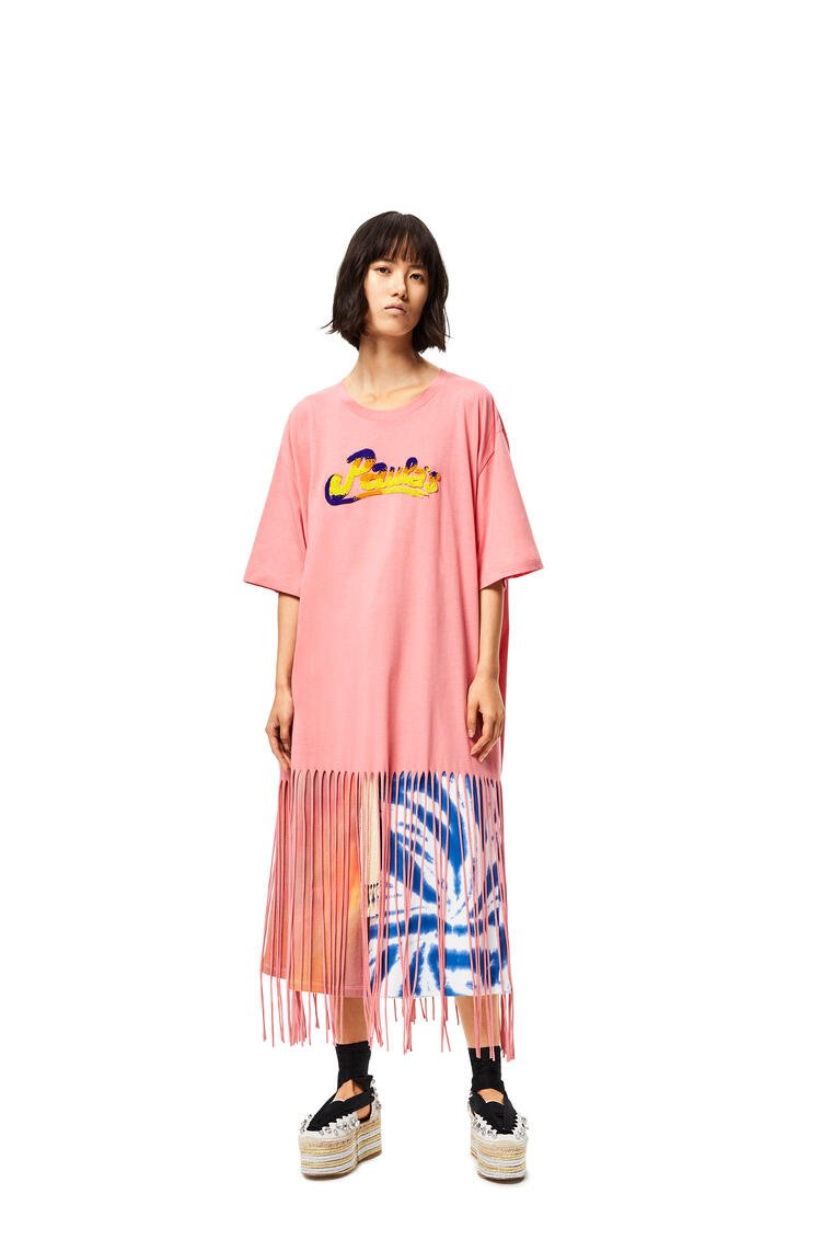 LOEWE Fringed Oversize T-shirt In Cotton 玫瑰 pdp_rd
