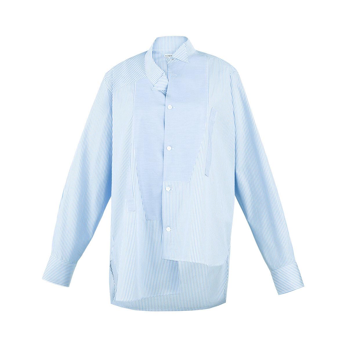 LOEWE Asymmetric Oversize Shirt White/Light Blue all
